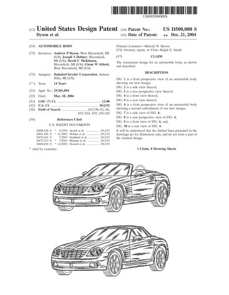 Clothing Design Patent Description Example Chrysler car design patent