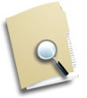 Document folder with magnifying glass
